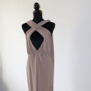 Long taupe Wrap Dress